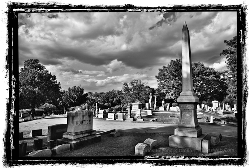 Curving Obelisque Springwood Cemetery Greenville, SC, Black and White HDR Photography Rittman Top 10 Best Photoblogs