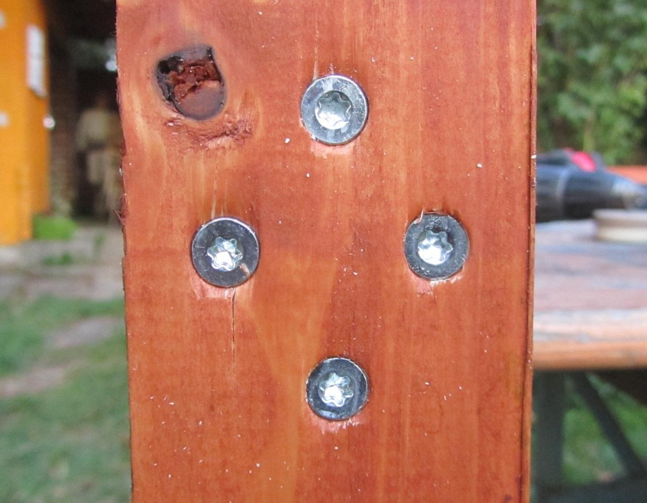 Schrauben im Holz versenkt