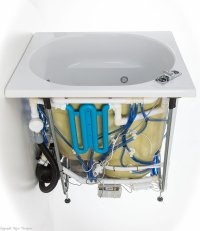 Side view of Oronsay japanese style deep bath with flush whirlpool jets