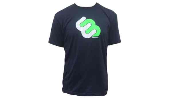 navy blue t-shirt with white and green whirly board logo