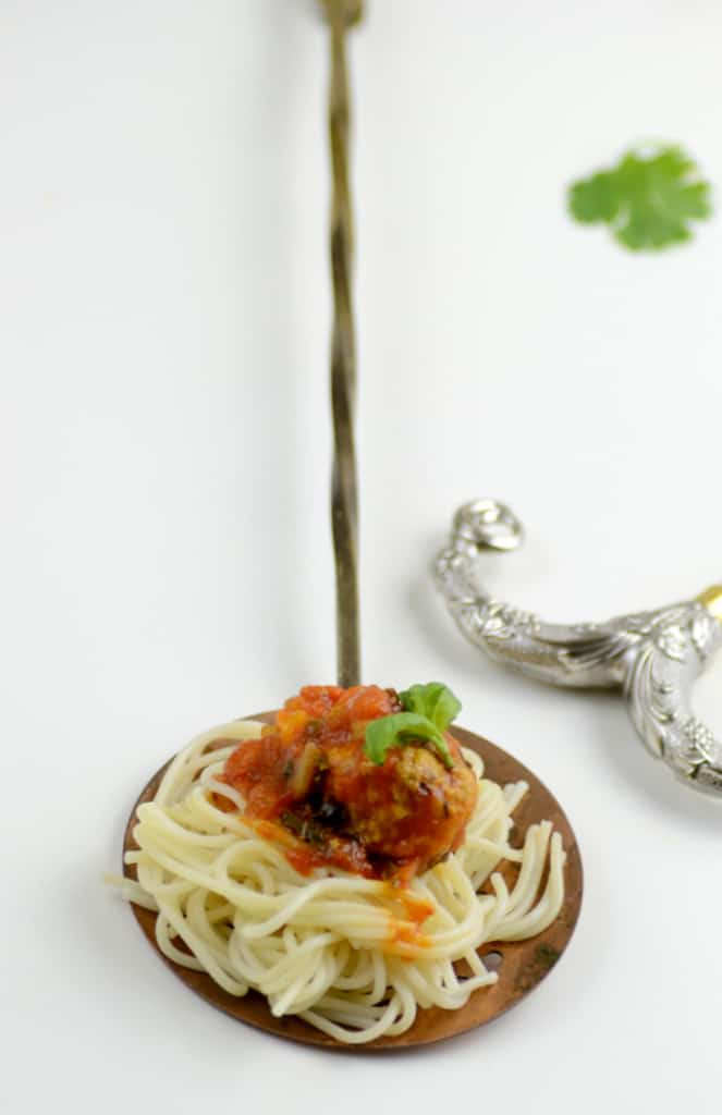 Spaghetti and Turkey Meatballs with Tomato and Wine Sauce