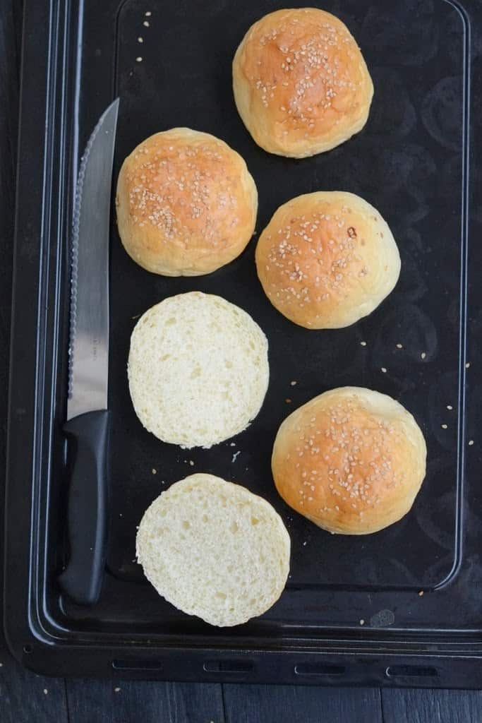 Baking Hamburger Buns take times, but they also turn very soft, moist they made a very nice and sturdy base for the chicken patties and veggies.