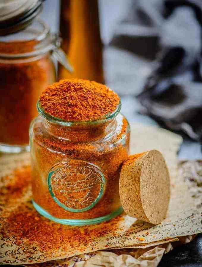 Side view of Achari Masala in a jar