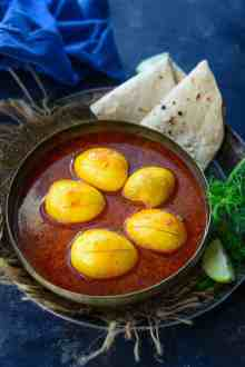 Kolhapuri egg Curry served in a bowl.