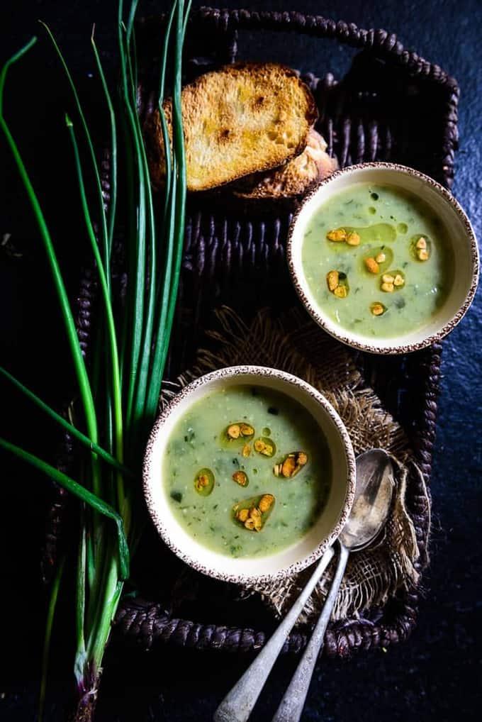 Garlicky Potato and Spring Onion Soup