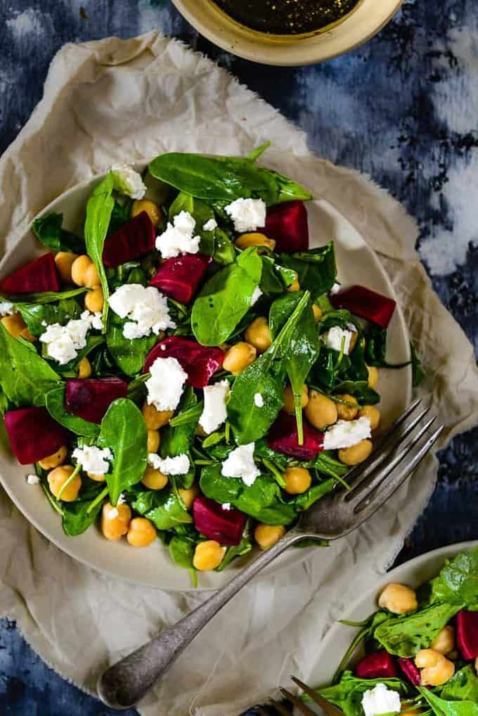 Baby Spinach Chickpeas and Feta Salad