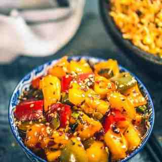 Sesame Pineapple Pepper Fry Recipe is a flavourful and easy to make, sizzling, sweet, spicy and tangy asian style dish that instantly wins your taste buds.
