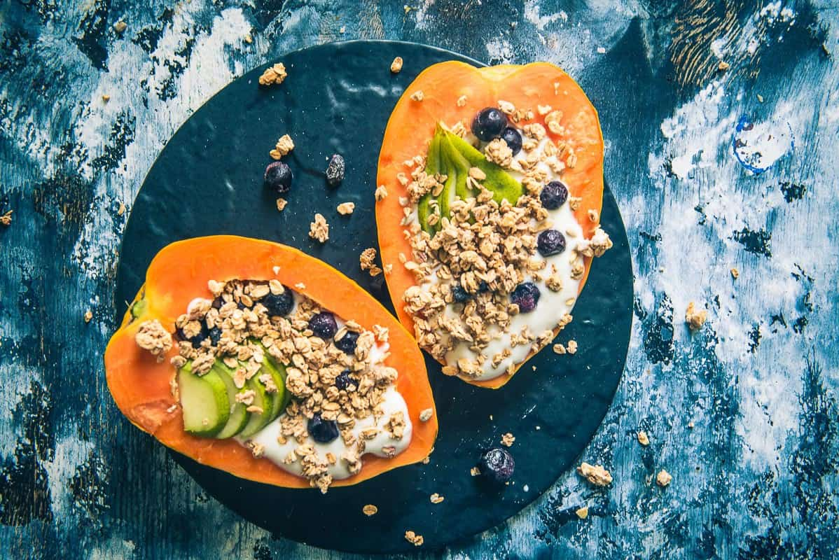 papaya boats recipe, healthy breakfast idea, papaya recipes, tropical papaya boat