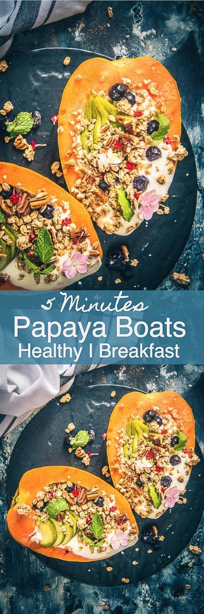 Papaya Boats is a healthy, delicious, No Carb option for breakfast or snacks which looks irresistible as well. Eat the toppings and then scoop the papaya for a filling breakfast. Healthy I Breakfast I Easy I simple I quick I Best I tropical I 5 minutes I Vegetarian I Gluten Free I
