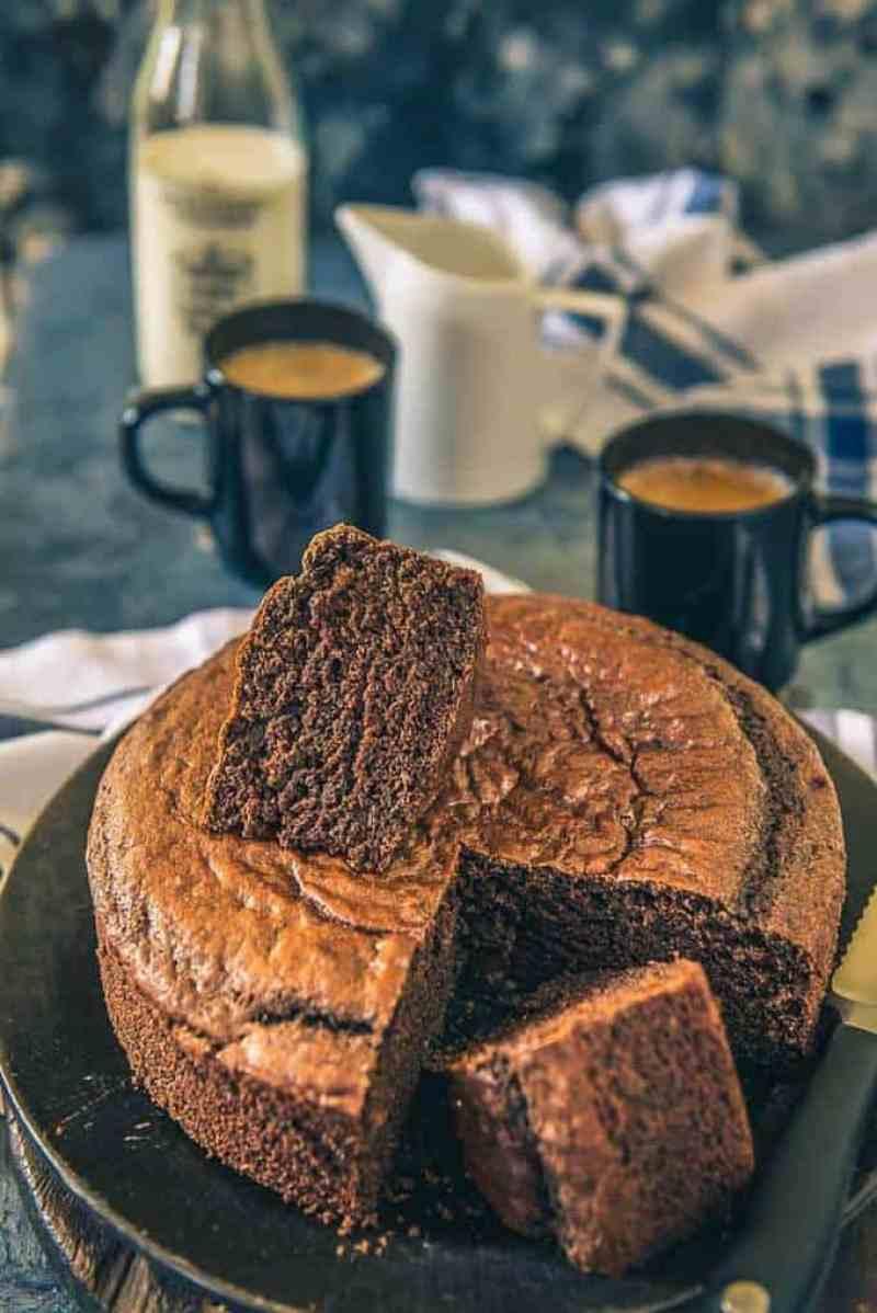 Spongy Eggless Chocolate Cake Recipe, Eggless Chocolate Sponge Cake