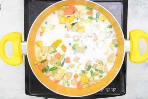Flour, salt, turmeric and thin coconut milk added in the pan.