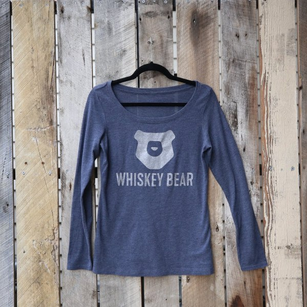 Whiskey Bear - Apparel - Ladies - LS Scoop Neck Tee - Vintage Blue
