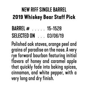 "New Riff Single Barrel – ""2019 Whiskey Bear Staff Pick"""