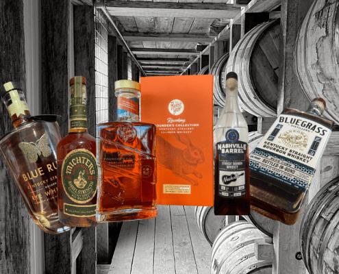 Header image of bottles: Blue run, rabbit hole race king, michter's barrel proof rye, nashville barrel company, and bluegrass blue corn bottled-in-bond