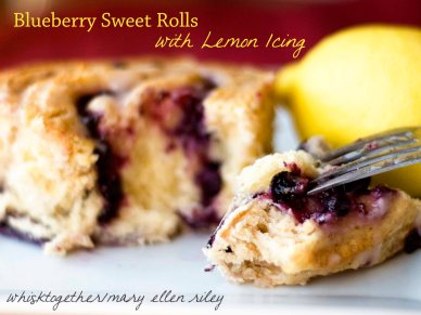 Blueberry Rolls with Lemon Icing on Whisk Together Title