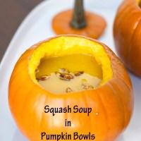 Squash Soup in Pumpkin Bowls