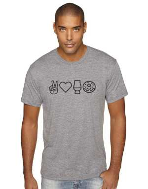 Peace & Love Mens Tee - Whisky and Donuts - WhiskyAndDonuts.com