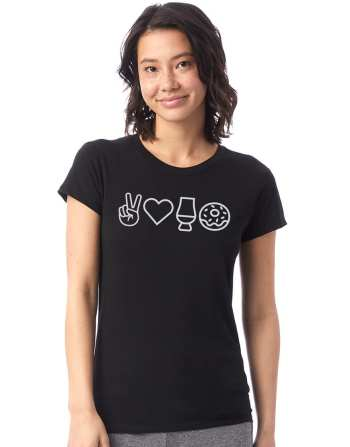 Peace & Love Womens Tee - Whisky and Donuts - WhiskyAndDonuts.com