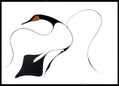 an elegant drawing of a black goose turning in flight. only the head and tail is depicted in mass, the wings are simple lines yet clearly convey form and movement.