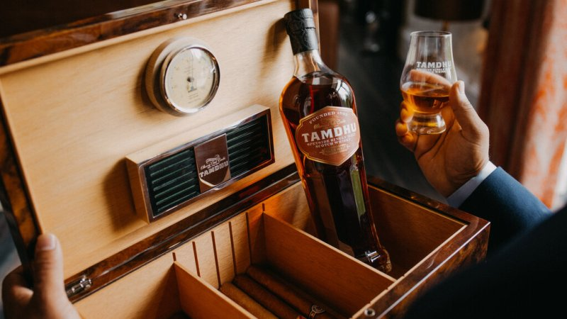 Tamdhu celebrates the launch of its new Cigar Malt with a unique humidor inspired by its sherry seasoned casks