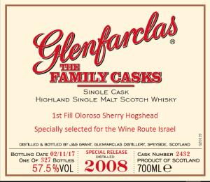 Glenfarclas 2008 family casks – Israel Exclusive cask # 2432