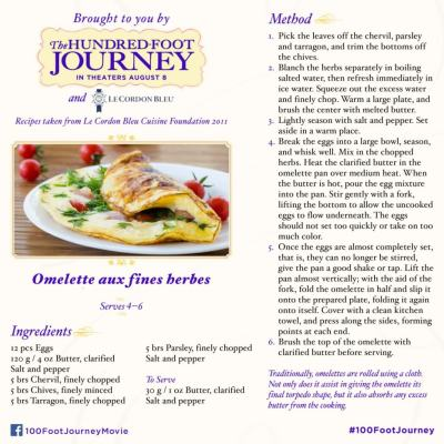 DreamWorks Pictures' THE HUNDRED-FOOT JOURNEY Omelette Recipe