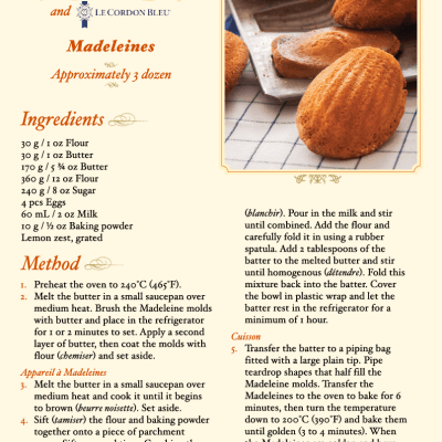 DreamWorks Pictures' THE HUNDRED-FOOT JOURNEY Madeleines Recipe