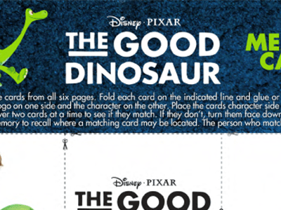 Disney/Pixar's THE GOOD DINOSAUR Coloring and Activity Sheets