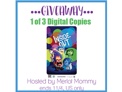 Enter to Win a Digital Copy of Disney • Pixar's Inside Out #giveaway ends 11/4