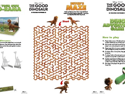 New Activity Sheets from Disney/Pixar's THE GOOD DINOSAUR #GoodDino