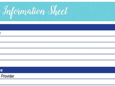 Insurance Information Worksheet: 30 Days of Free Printables