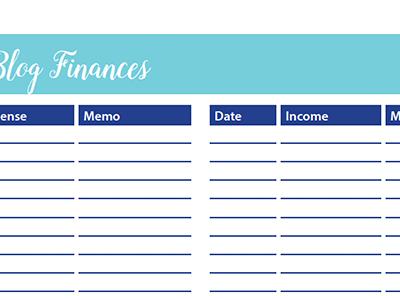 Blog Finances Worksheet: 30 Days of Free Printables