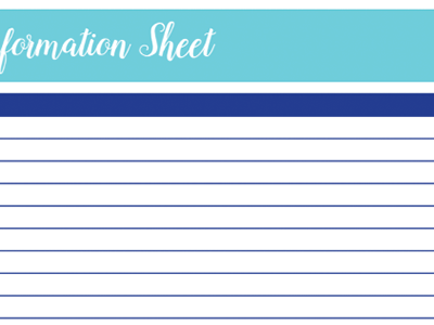 School Information Worksheet: 30 Days of Free Printables