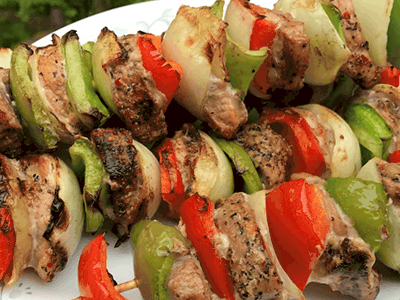 Roasted Garlic and Cracked Black Peppercorn Pork Kebabs