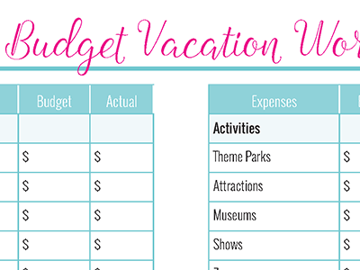 Create a Travel Budget Vacation Worksheet