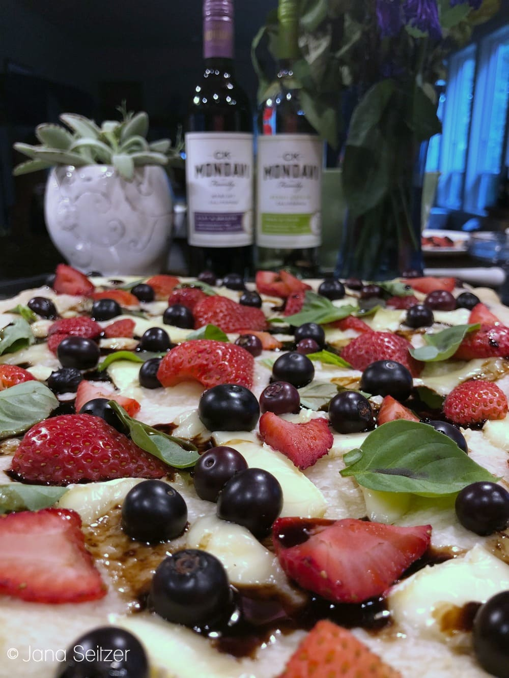 Grilled Fruit, Basil, and Brie Pizza with Honey Balsamic Glaze