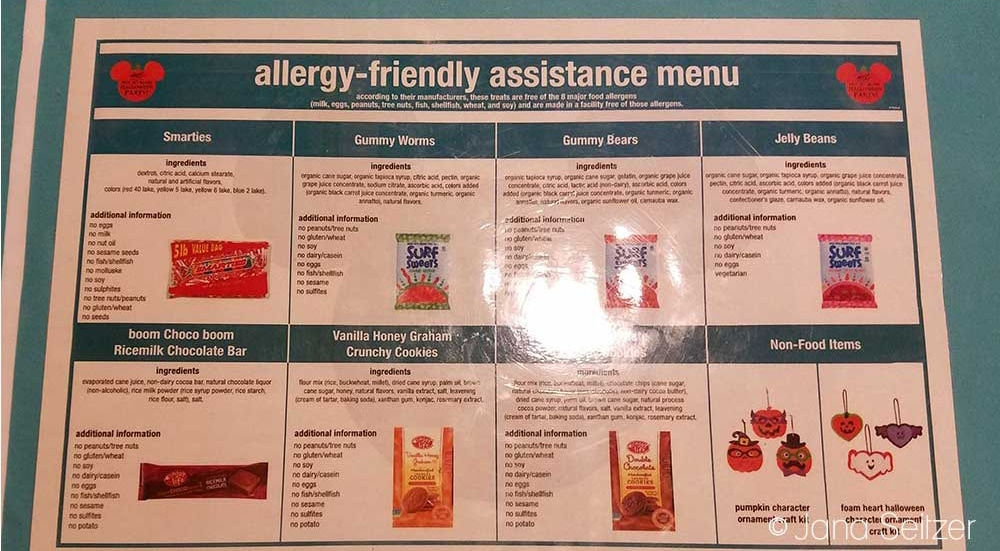 How to Have an Allergy-Friendly Treats at Mickey's Not-So-Scary Halloween Party - allergy assistance menu at MNSSHP