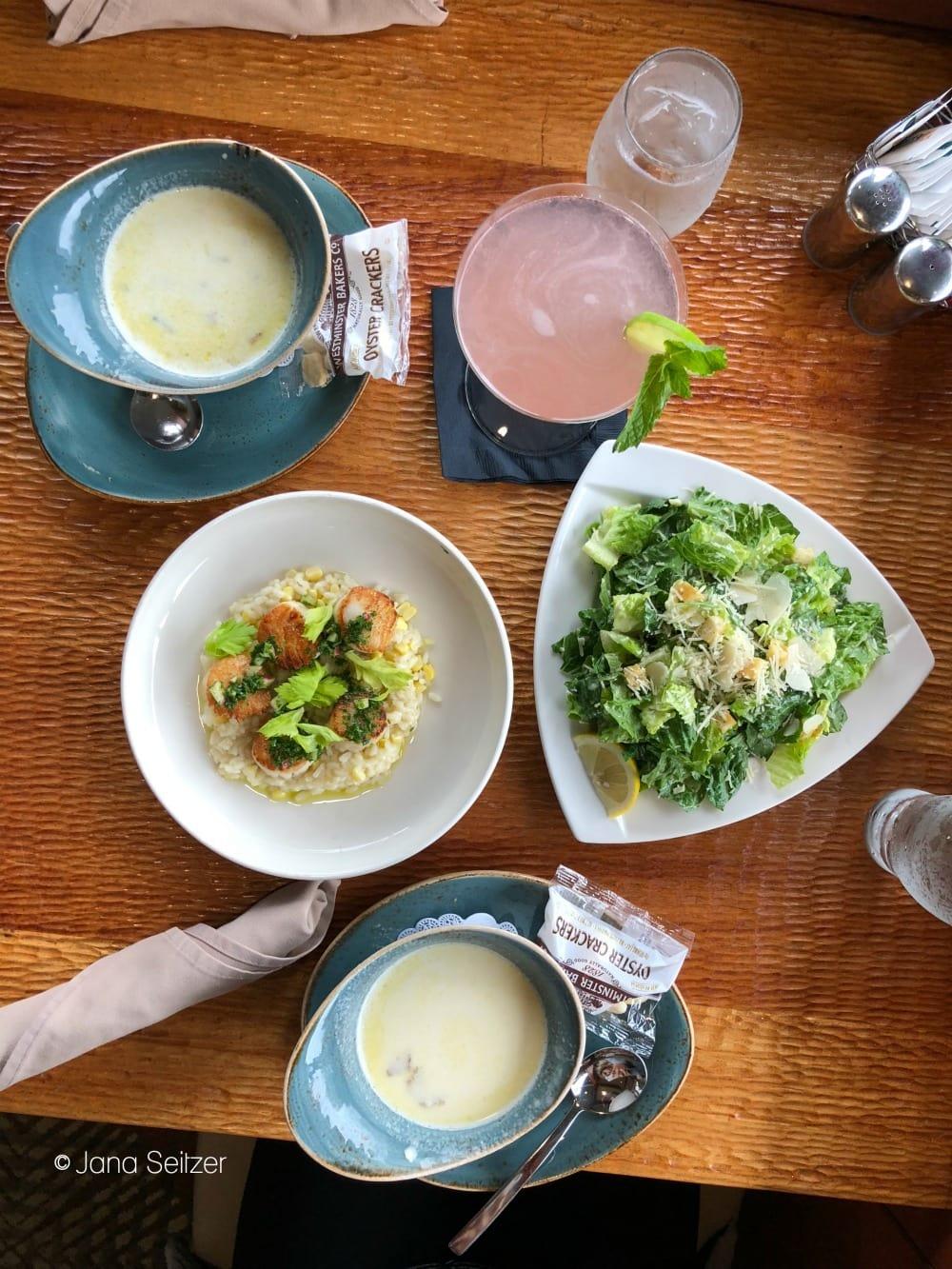 Summer at Salishan Resort on the Oregon Coast - dinner spread at the sun room