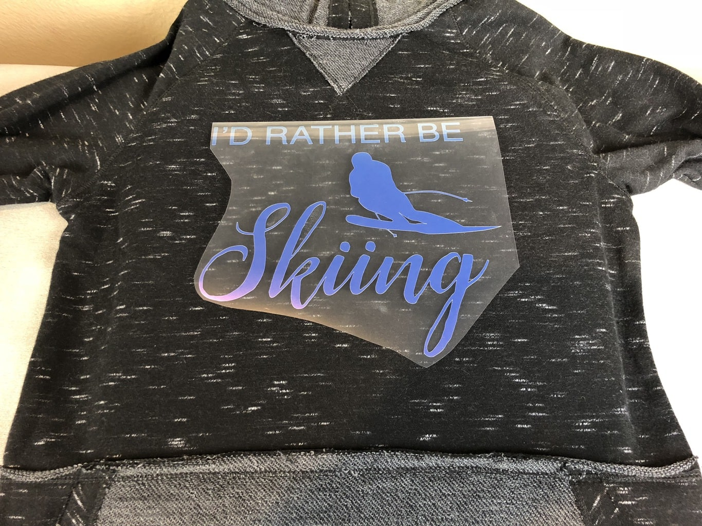 DIY I'd Rather Be Skiing Shirt in process