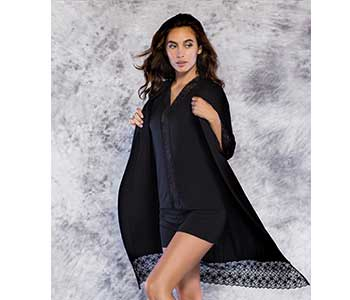 100% Bamboo Lace Trim Black Women's Pajama Set