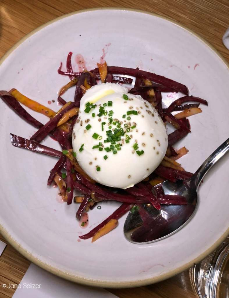 Burratta with shaved beets