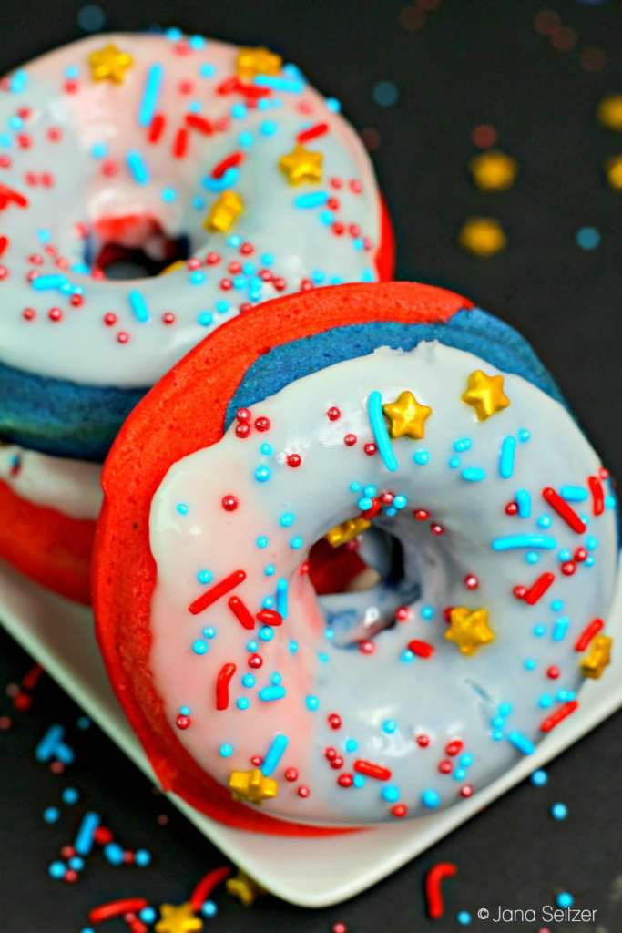 Captain marvel donuts , red white and blue donuts