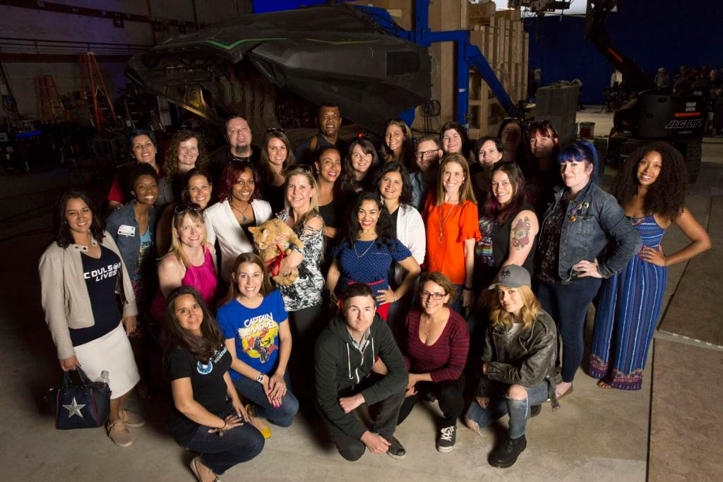 Brie Larson, Samuel L Jackson, Jana Seitzer Captain Marvel set visit photo