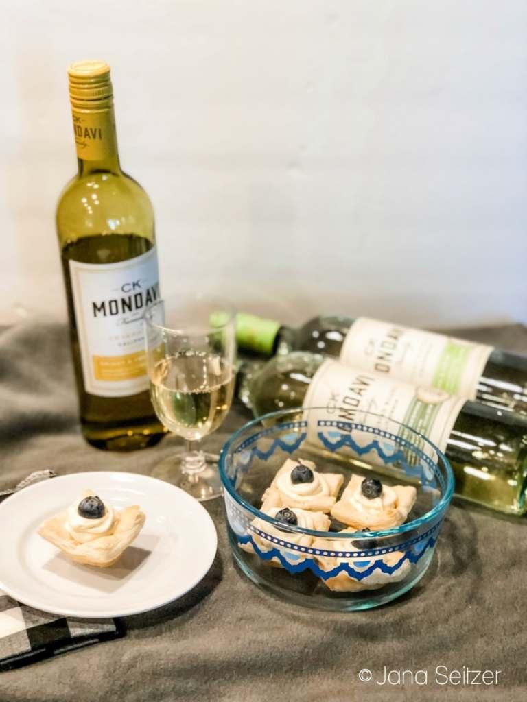 wine bottles and tarts