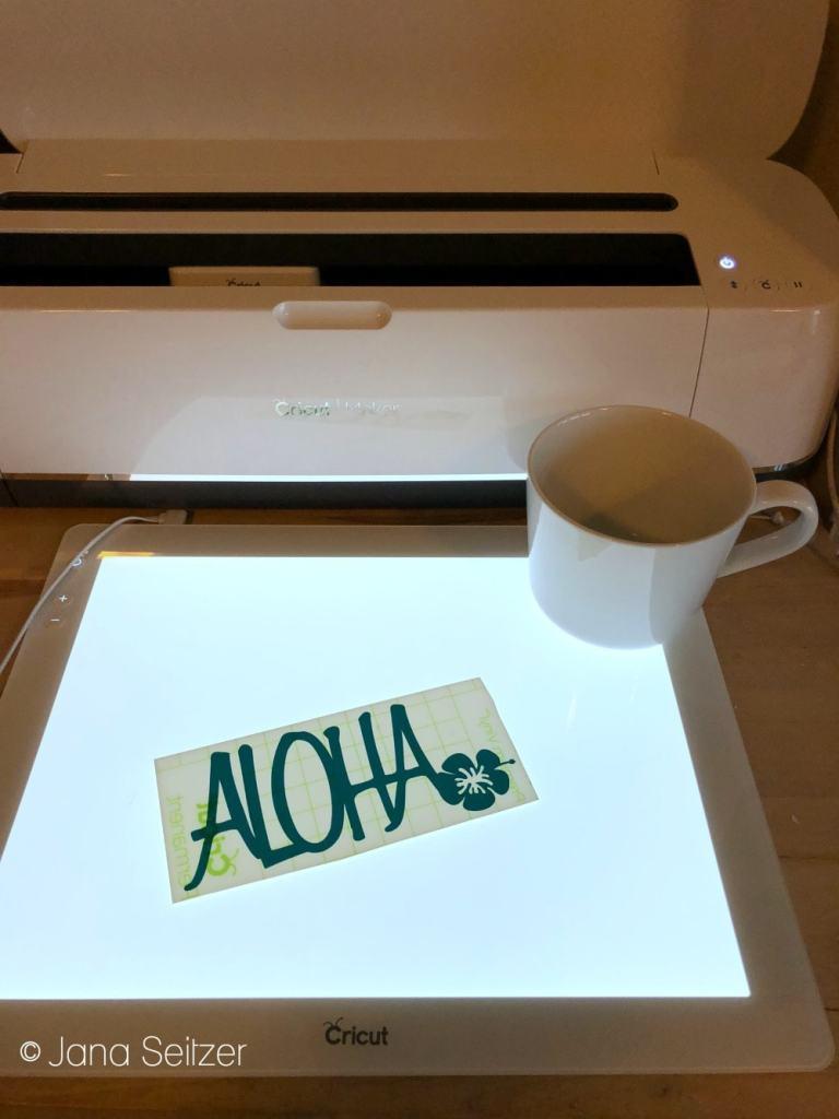 DIY Aloha Mug Craft in process