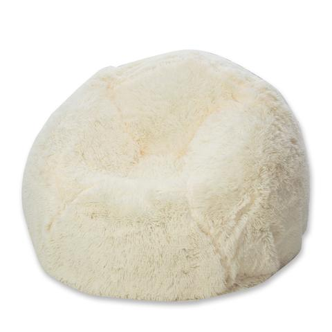 BloChair® - Mongolian White Faux Fur Teardrop Shaped Bean Bag Chair