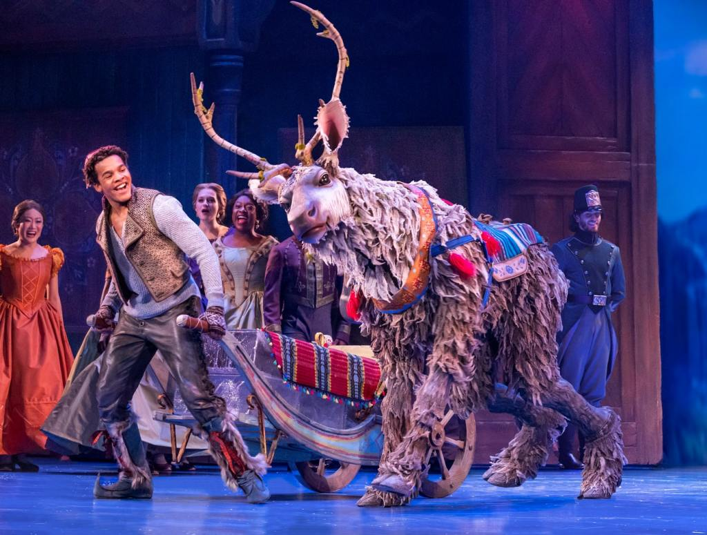 Mason Reeves as Kristoff and Collin Baja as Sven in Frozen, North American Tour. Photo by Deen van Meer.