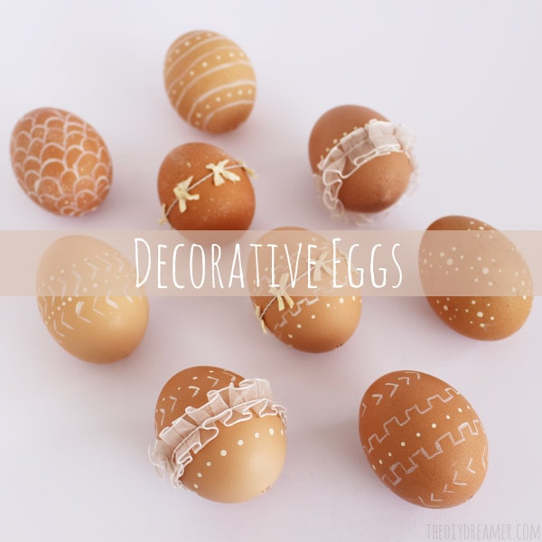 Decorative Eggs with paint and ribbon