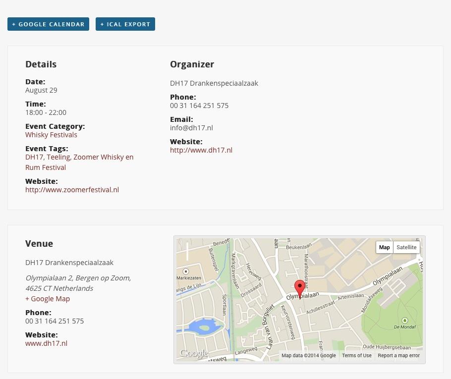 Ook de gegevens van de organisator en de locatie kunnen op de detail pagina van een event verschijnen.