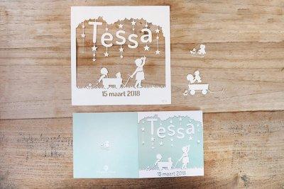Custom Birth Announcement - Tessa - Original Papercut with Card - Whispering Paper